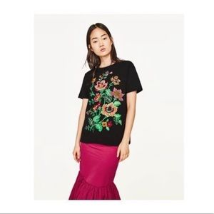 Zara | Black Colorful Embroidered T Shirt